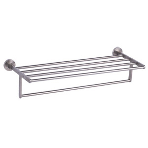 Stainless Steel Satin Towel Shelf with Rail